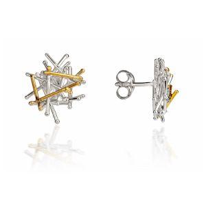 Jill Graham Magnetic Silver & Gold Stud Earrings