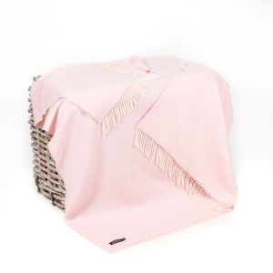 John Hanly Baby Pink Herringbone Throw