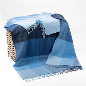 John Hanly Blue Mix Check Cashmere Throw