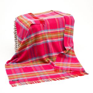 John Hanly Cashmere Rose/Green Check Throw
