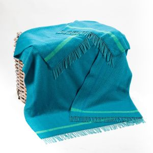 John Hanly Duck Egg & Teal Herringbone Throw