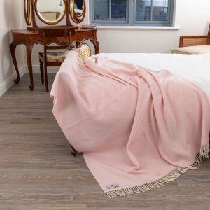 John Hanly Pink Herringbone Bed Throw