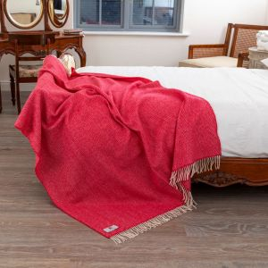 John Hanly Raspberry Herringbone Throw