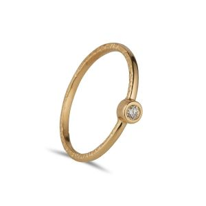 Juvi Solitaire 14kt Gold Solitaire Stacking Ring