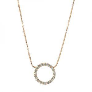 Lovethelinks Rose Gold Hammered Crystal Necklace