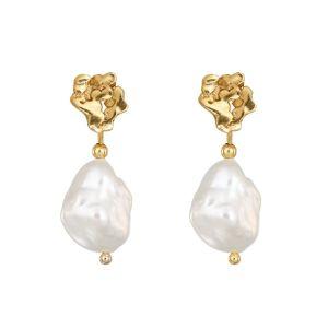 Loinnir Jewellery Giant Causeway Pearl Drop Gold Earrings