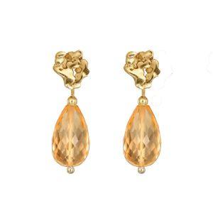 Loinnir Jewellery Giants Causeway Citrine Drop Gold Earrings