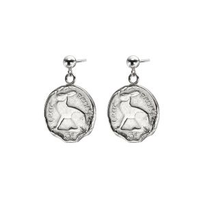 Loinnir Jewellery Hare 3 Pence Coin Drop Silver Earrings
