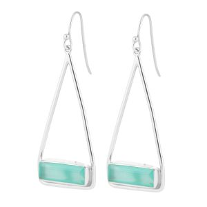 Juvi Manhattan Aqua Chalcedony Silver Swing Earrings