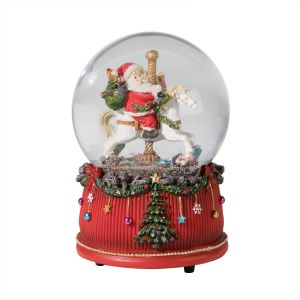 Medium Santa on Horse Musical Snow Globe