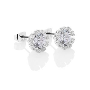 Newbridge Flower Earrings Clear Stones