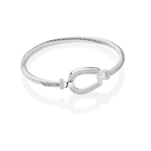 Newbridge Horseshoe Catch and Clear Stones Bangle