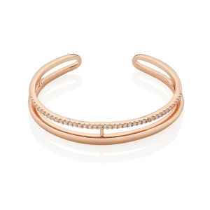 Newbridge Rose Gold Plated Bangle With Clear Stones
