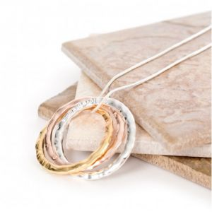 Lovethelinks Russian Ring Necklace Tri Colour