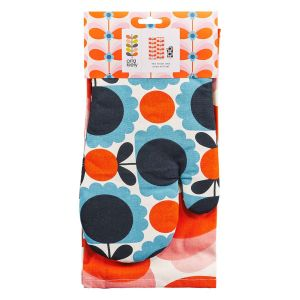 Orla Kiely Butterfly Stem Tea Towel and Oven Mitt