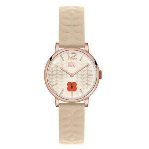 Orla Kiely Frankie Ladies Nude Leather Strap Flower Cut Out Dial Watch