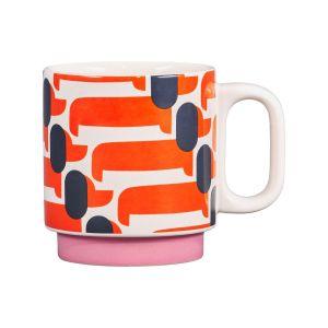 Orla Kiely Individual Mug - Dachshund Papaya