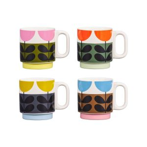 Orla Kiely Set 4 Stacking Mugs Sunflower Multi