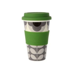 Orla Kiely Summer Flower Stem Grey Travel Mug