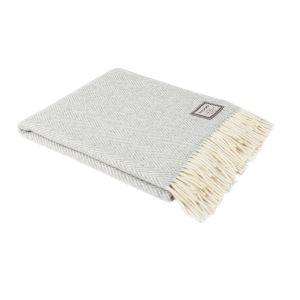 Foxford White/Pearl Grey Herringbone Throw