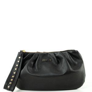 Peelo Cloud Black Leather Clutch