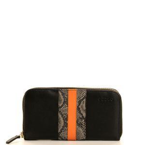 Peelo black leather wallet with orange detail large