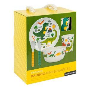 Petit Collage Bamboo Dinosaur Dinnerware Set