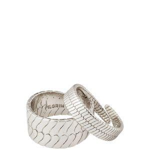 Pilgrim Kelly Snake Chain Rings, Silver-Plated