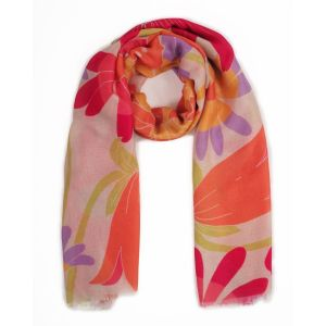 Powder Retro Meadow Cream Print Scarf