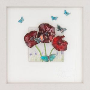 Poppies with butterflies