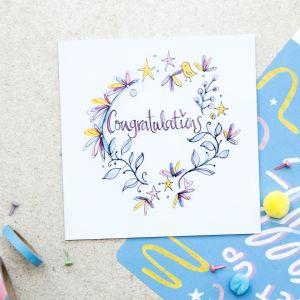 Ruby Doodle Congratulations Floral Card details