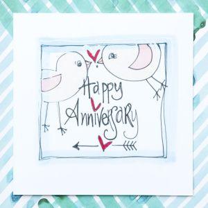 Ruby Doodle Happy Anniversary Bird Card