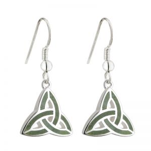 Solver Marble Trinity Knot Drop Earrings