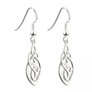 Solvar Sterling Silver Long Trinity Celtic Drop Earrings