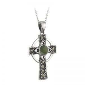 Solvar Marble Marcasite Cross Pendant