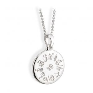Sterling Silver History Of Ireland Disc Pendant