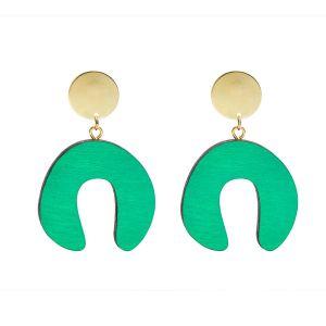 Shock of Grey Doodle Emerald Green Earrings