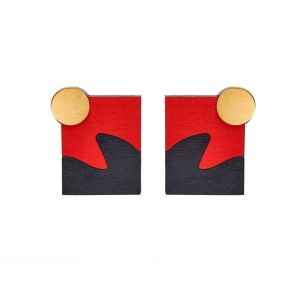 Shock of Grey New Wave Red & Charcoal Earrings