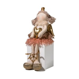 Sitting Christmas Angel With Heart
