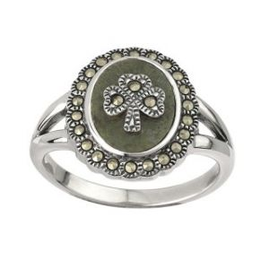 Solvar Marcasite Shamrock Marble Ring