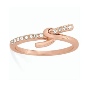Tipperary Crystal Rose Gold Knot Ring Size 6