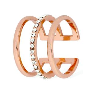 Tipperary Crystal Rose Gold Triple Cage Ring Size 6