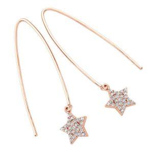 Tipperary Crystal Star Pave Loop Rose Gold Earrings