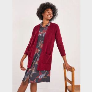 White Stuff Cosy Rib Longline Red Cardigan