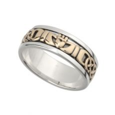 Solvar Silver and Gold Gents Claddagh Band