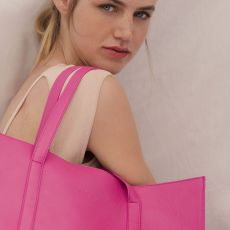 Peelo Leather Hot Pink Tote Bag