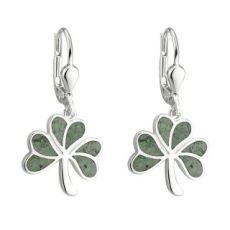 Solvar Sterling Silver Marble Shamrock Drop Earrings