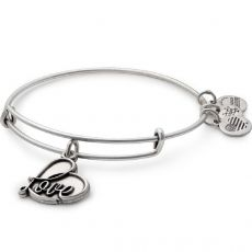 Alex and Ani Love Charm Silver Bangle