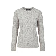 Aran Lattice Lambay Silver Marl Sweater