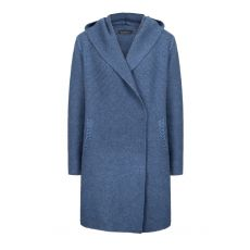 Aran Millford Hooded Cable Coat Blue Wave-Large